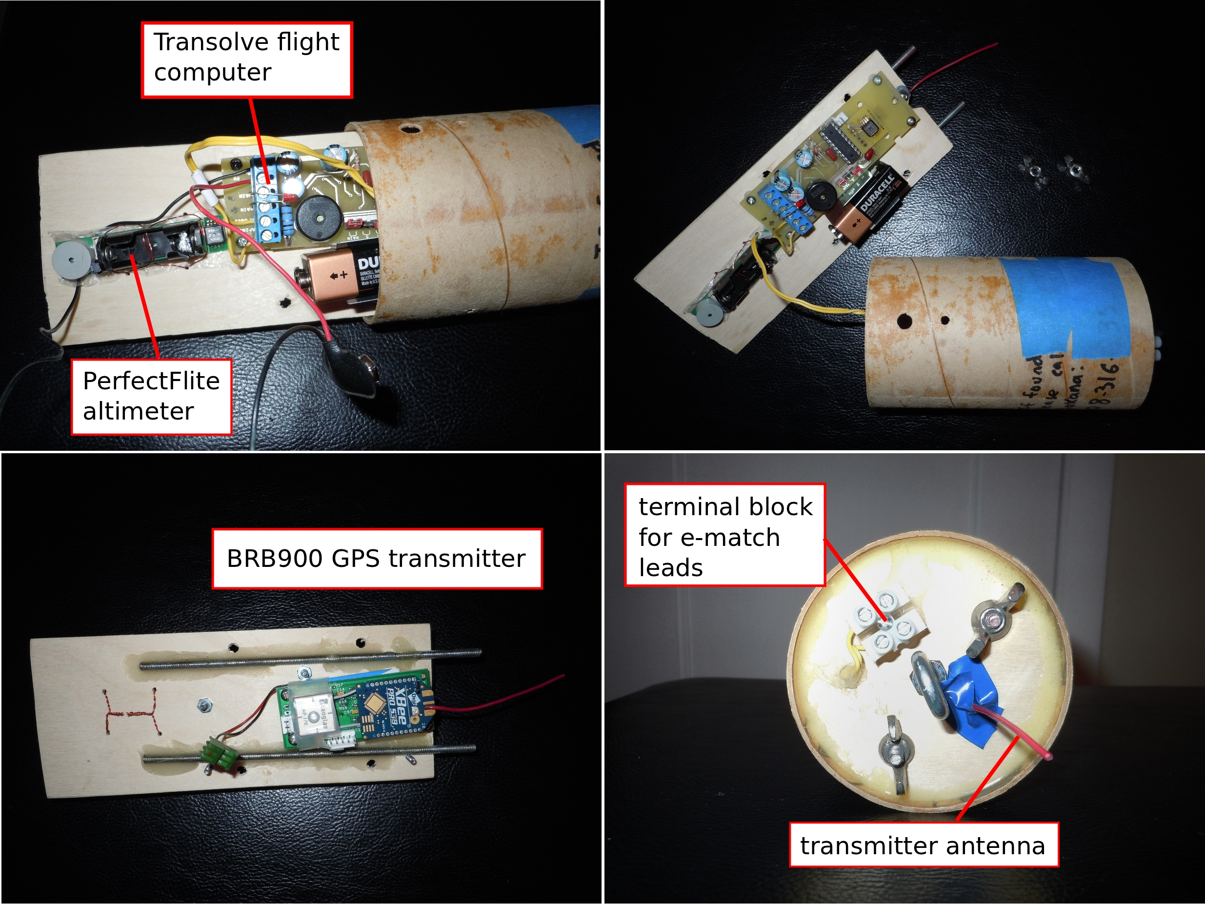 Quantum Leap Ii Timers For Rocket Ejection Figure 2 Close Up Of The Sustainer Electronics Bay Showing Perfectflite Alt15k Wd Altimeter Transolve Pk6 Flight Computer And Bigredbee Brb900 Gps